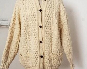 Classic Irish Wool Vintage Fisherman Knit Ivory Cardigan Sweater Sz Large XL