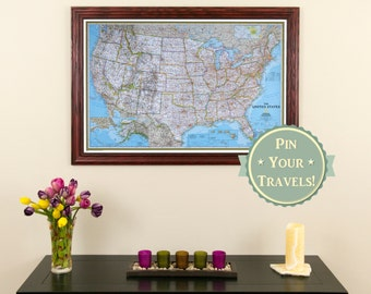 Classic Us Travel Map With Pins And Frame Push Pin Travel Map Detailed Pin