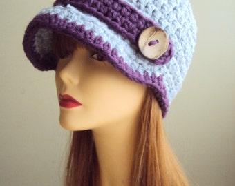 Crochet Hat with Button Brim Beanie Crochet Newsboy Cap with Button  Fashion Hats