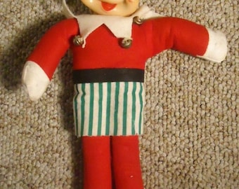 Rushton Elf Doll Rubber Face Style Jingle Bells Vintage Collectible