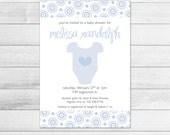 Blue Onesie Printable Baby Shower Invitation