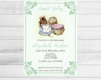 Beatrix Potter Baby Shower Invitation, Green, Gender Neutral Hunca Munca Printable, Digital Baby Shower Invite File