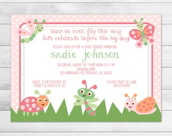 Cute as a Bug Baby Shower Invitation - Girl Pink Love Bug, Printable, Digital Baby Shower Invite File