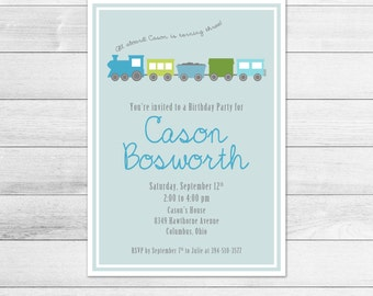 Train Birthday Party Invitation - Blue, Green Printable, Digital Boy Invite File