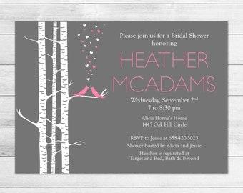 Love Birds Bridal Shower Invitation Pink & Gray
