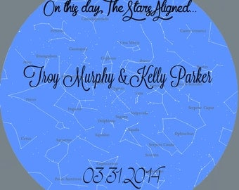 "Customized ""On this day, the stars aligned"" Marriage 12x12 print"