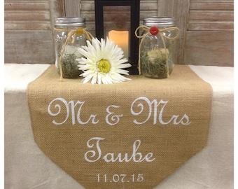 "Burlap Table Runner 15"" wide with Monogram Sweetheart table Wedding runner Wedding gift Bridal shower"