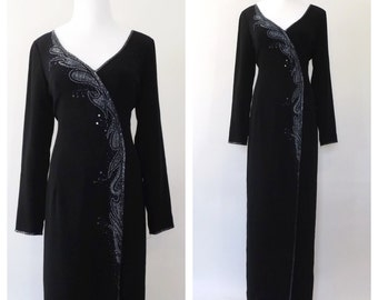 BOB MACKIE Dress Vintage 90s does 1940s Black Beaded Dress Old Hollywood Femme Fatale Noir Art Deco Gown Long Sleeve Formal Gown Size Medium