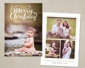 Christmas Card Template -  Photoshop template 5x7 flat card - Modern Minimal CC098 - INSTANT DOWNLOAD