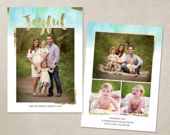 Digital Photoshop Christmas Card Template for photographers PSD Flat card - Joyfully Painted CC094