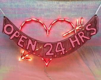 Open 24 Hrs Glittering Fringe Banner | 24/7 sign, fringe banner, tassel banner, neon sign inspired, open sign, funny banner, decor banner
