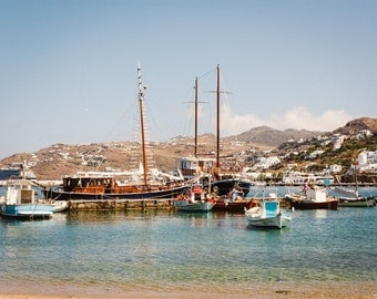 "Mykonos Harbour Photo Print - Wall Art - Travel Photography - 10""x8"" Print - UK Seller"