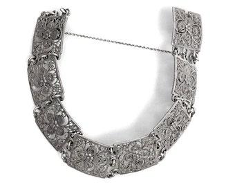 Antique Bracelet Silver Art Deco Filigree Jewelry