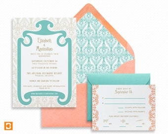 Art Nouveau Printable Wedding Invitation Suite with Print-at-Home Save the Date and Print-ready Info Card Inspired by Art Nouveau Jewelry