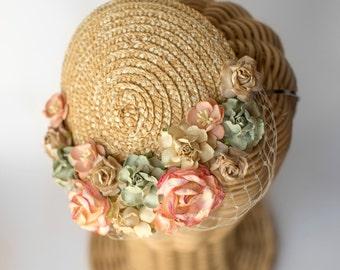 Straw mini hat · flowers millinery headpiece · wedding guest fascinator· bridal flowers · Natural