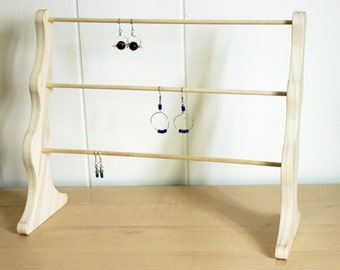 Wooden display earring rack, wood jewelry display, pre-assembled earring stand