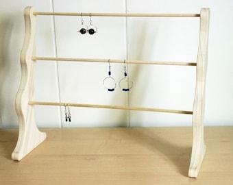 Wooden display earring rack, wood earring display, wood display rack, earring stand, wood earring rack