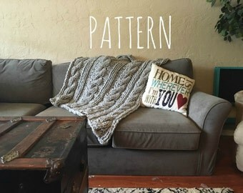 chunky knit cable blanket PATTERN || the MURRAY || ready to download PDF file