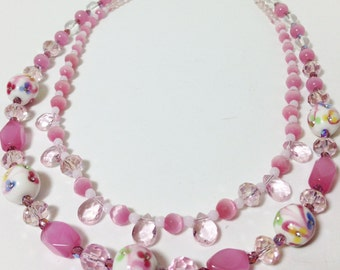 Necklace 2 Strand Pink Shades, Pink Shades Statement Necklace, Handmade Pink Beaded Necklace, Pink 2 Strand Beaded Necklace