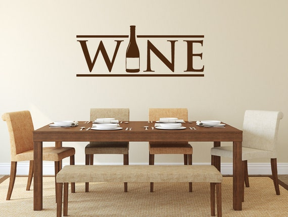 Wine wall decal kitchen decor wine decor wine bottle for Dining room 3d wall art