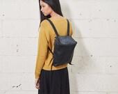 Sale 30% Off Leather Backpack in Black, Messenger Bag, School Bag, Leather Bag