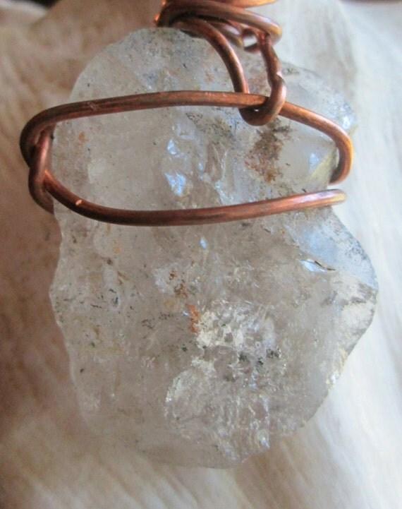 Quartz Crystal Emotional Creativity Pendant with Handmade Leather by Cosmic Soul Gems