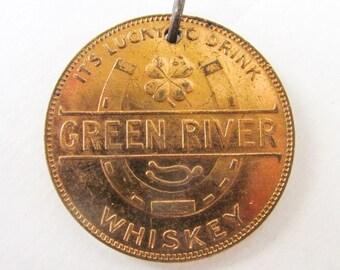 Antique Green River Whiskey fob Pendant, whisky, good luck token, horseshoe, horse, four leaf clover,  Booze, Bourbon, liquor  m20 eb