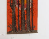 Large 70's Swedish Wallhanging Forest Midnight Sun Lini of Sweden