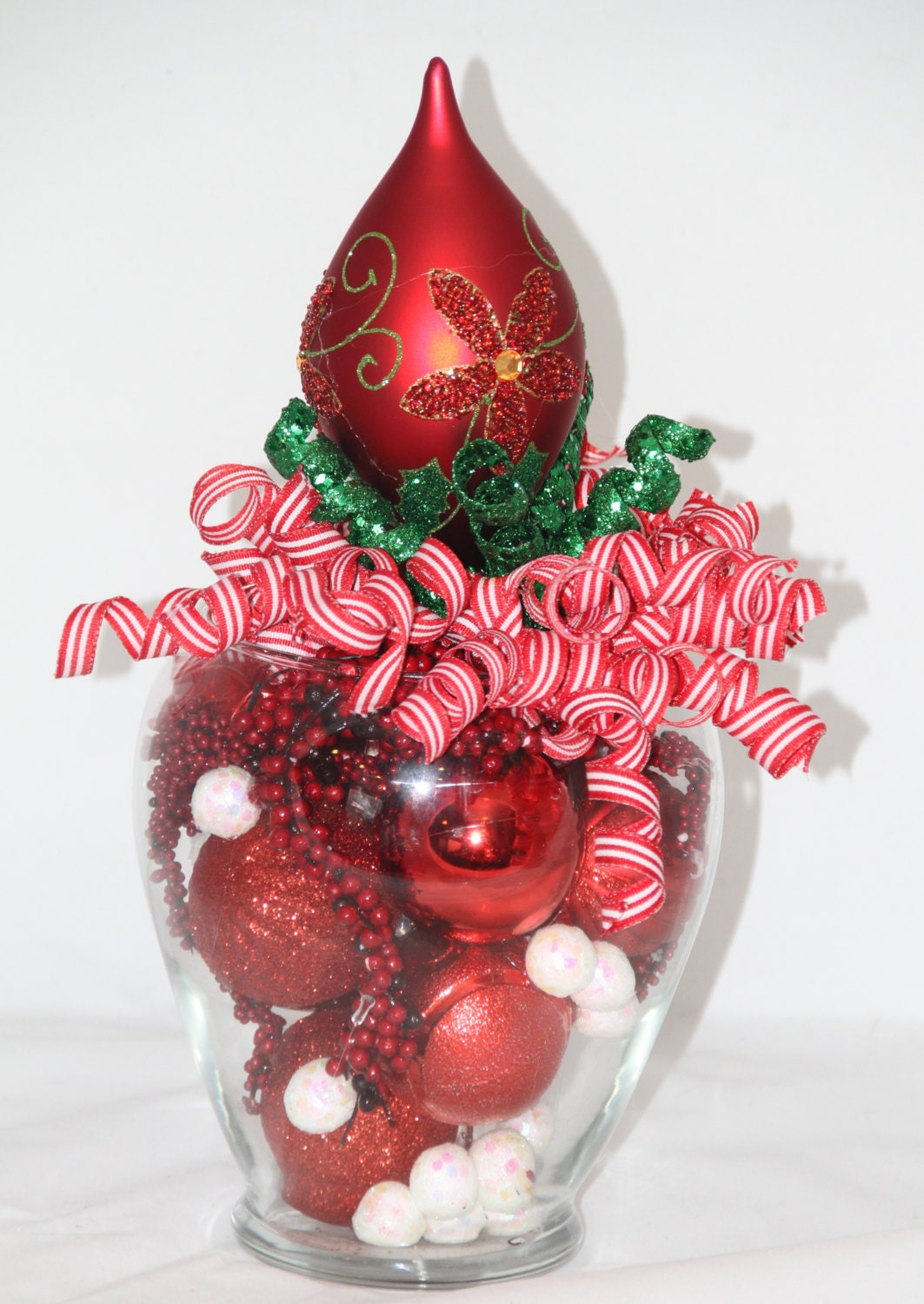 Christmas centerpiece red and green holiday home decor for Red and green christmas decorations