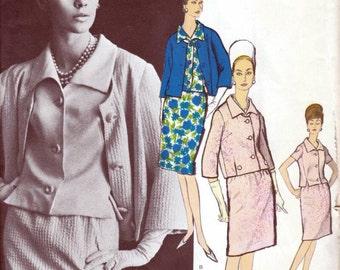 60s Vogue Paris Original jacket skirt suit and blouse, vogue pattern 1251 by Patou, Bust 36 inches, factory folded