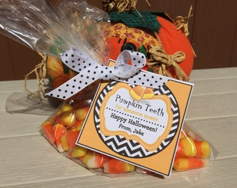 Pumpkin Teeth Candy Corn Halloween Square Treat Tag Digital Printable