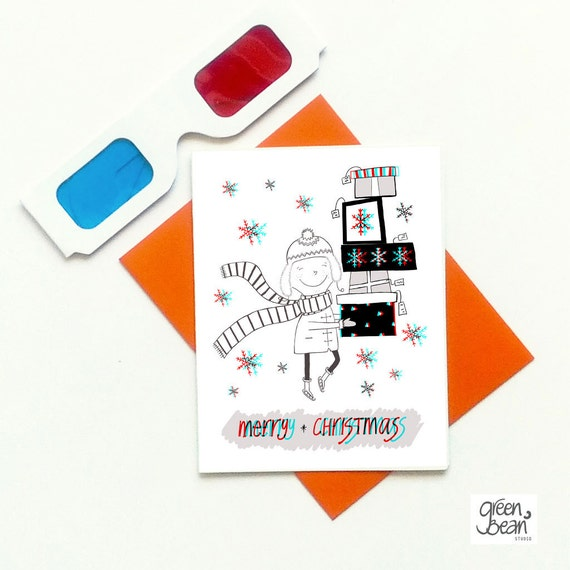funny 3D christmas card - cute holiday card for him for her for kids- happy holidays card- christmas gifts in 3D card- unique christmas card