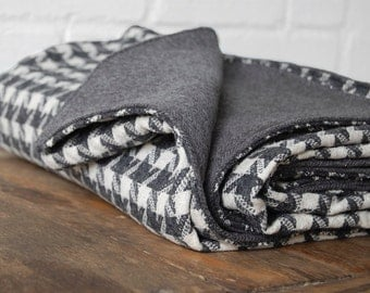 Grey Houndstooth Cashmere and Wool Blanket