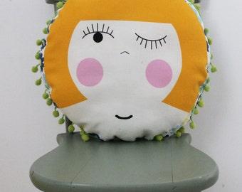 Milly Circular Cushion with Pom Pom Trim