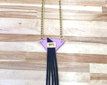 Pink and Black Fringe Necklace