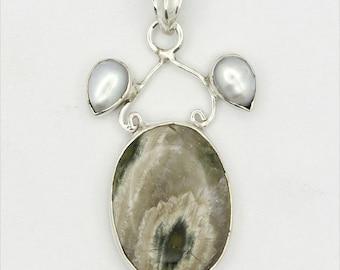 Astonishing! New Green Ocean Jasper,Pearl 925 Sterling Silver Pendant Jewelry A0892