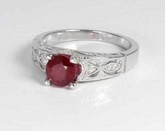 Genuine Ruby Ring Sterling Silver / Ruby Ring Silver JULY BIRTHSTONE