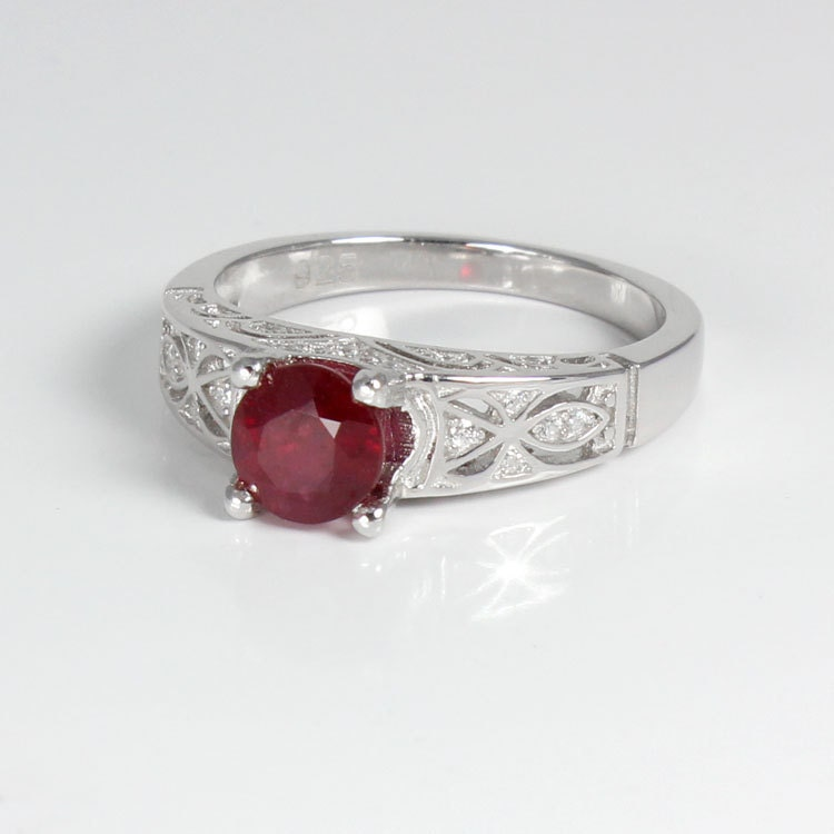 genuine ruby ring sterling silver ruby ring silver july