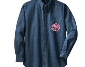 Monogram denim shirt etsy for 6xl button down shirts
