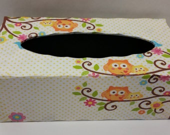 Handmade Decoupage Scalloped Edge Rectangle Wood Tissue Box Happi Tree Owls Hedgehogs