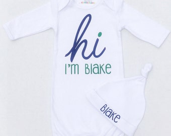 HI Personalized Boy's Name bodysuit / Toddler Tee Baby Gown - CUSTOM NAME personalized soft solid color