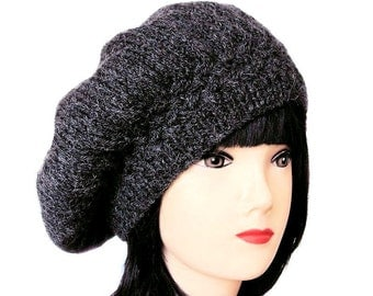 Beret Womens Knit Hat, Wool Beret Grey Hat, Beret Hat, Grey Beret, Womens Hats, Ladies Hat, Beret Hats for Women, Gifts for Her, Sue Maun