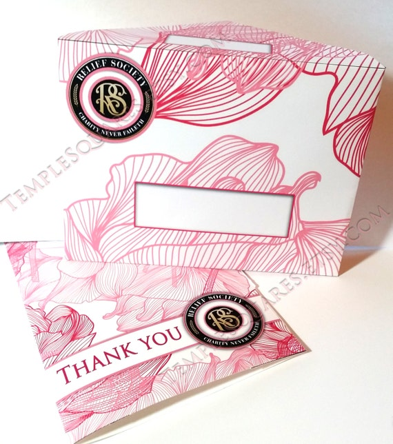 PRINTABLE Relief Society Thank You Cards and Matching Envelopes LDS Presidency or Visiting Teaching Charity Never Faileth Pink Florals