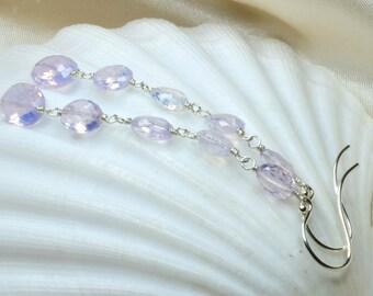 Scorolite Argentium Silver Linear Earrings