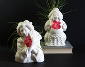 RESERVED - Vintage White Ceramic Figurine Set Geisha & Sumo Wrestler - Tiki Mugs Made in Japan - His and Hers Decor - Incense Holder