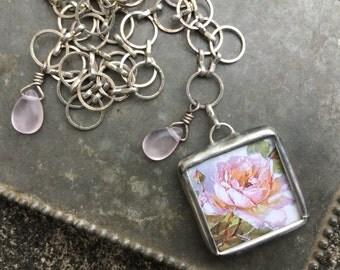 Blooming Pink Rose Soldered Pendant Necklace from Vintage Postcard