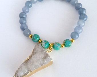 Mala Bracelet, Yoga bracelet, Beaded bracelet, Wrist Mala, 108 Mala bracelet, Gray quartz bracelet, Healing bracelet, Mala gift set, BMGD
