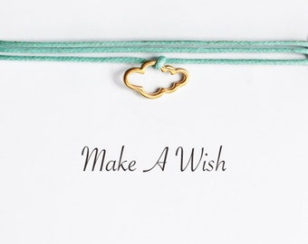 Make A Wish Cloud Bracelet - Bohemian Jewellery, Friendship Bracelet, Charm Bracelet, Boho, Wishing Bracelet, Baby Shower Gifts