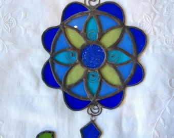 HANDMADE MANDALA FLOWER Green,Yellow & Blue Colors with Filigree.Ethnic Stained Glass,Wall Hanging,Tiffany Art Gift,Original design by Paula