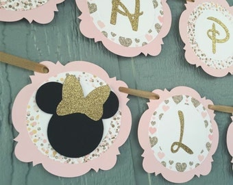 Gold GLITTER & Pale Pink MINNIE Mouse Banner - Gold/Pink/White/Black - Personalized w/name - Birthday, 1st birthday, shower - Glitter Banner